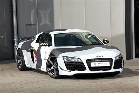 wrapped g audi r8 receives arctic camo wrap and mods from mbdesign