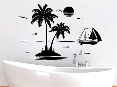 Wandtattoo Kinderzimmer Palme by Wandtattoo Palmen Insel Mit Segelschiff Wandtattoo De