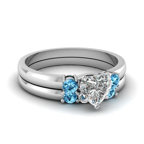 Blue Topaz Set Ring 3 wedding set with blue topaz in 14k white gold fascinating diamonds