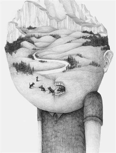 headsongs graphite portraits morph into landscapes colossal