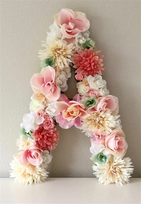 Handmade Nursery Decor Ideas - floral letters from begoniaroseco on etsy handmade