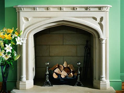 Tudor Style Fireplace by The Familial Hearth Living Room And Dining Room