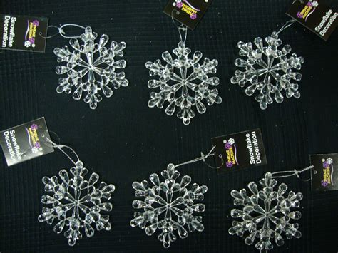 large outdoor snowflake decorations 6 x large acrylic snowflake hangers 11cm tree decorations ebay
