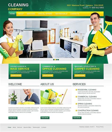 cleaning company template 10 attractive services website templates tonytemplates