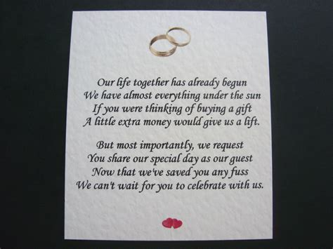 Wording For Gift Cards Instead Of Gifts - wedding invitation wording asking for money instead of gifts on wedding gift of cash