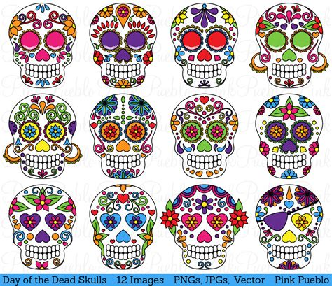 Day Of The Dead Skull Clipart Clip Art Sugar Skulls Clipart Day Of The Dead Skull Vector