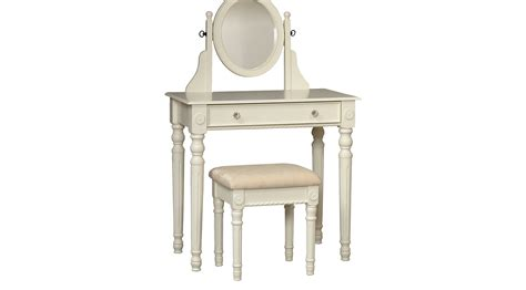 Vanity Mirror And Stool Set by Loraine White Vanity Mirror And Stool Set Traditional