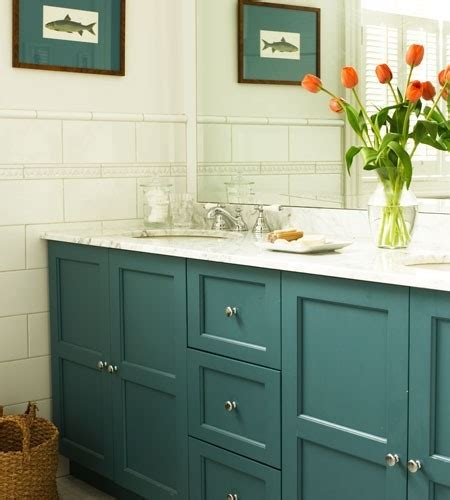 Coloured Bathroom Vanity Units by Teal Cabinets Cottage Bathroom House Home