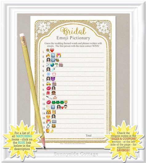 diy pictionary emoji pictionary bridal rustic country by