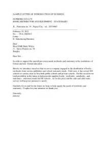 Business Letters Of Introduction Sample Sample Letter Of Introduction Of Business