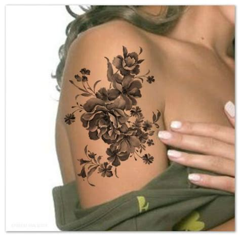 henna tattoo zeit temporary shoulder flower ultra thin realistic