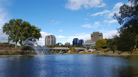 thames river london ontario view of downtown london ontario from river forks park