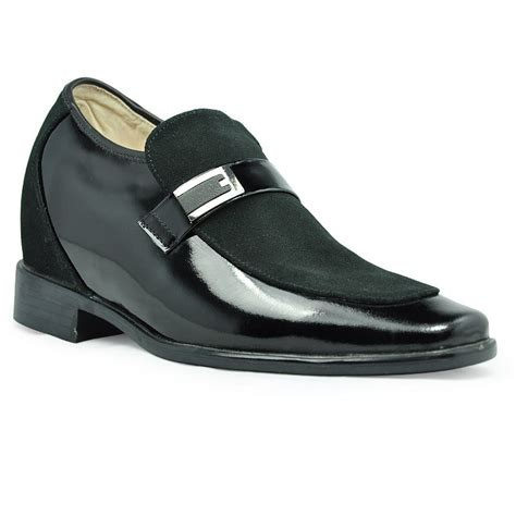 9190 elevator shoes black suede leather dress shoes