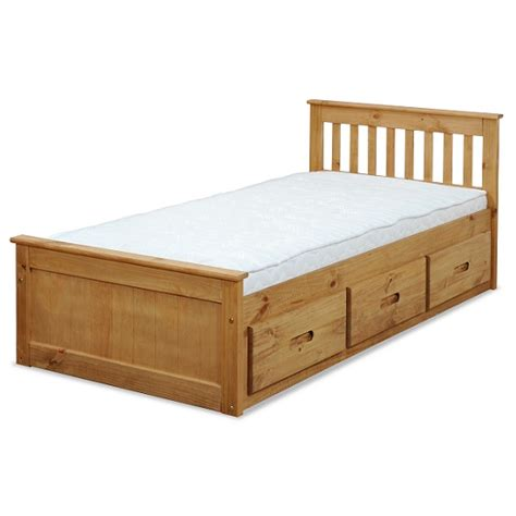 single bed with drawers mission storage single bed in waxed pine with 3 drawers
