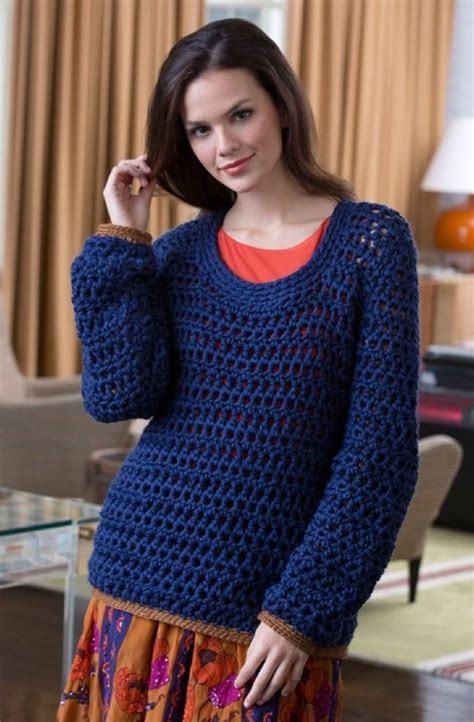 summer night sweater  red heart soft solids lw