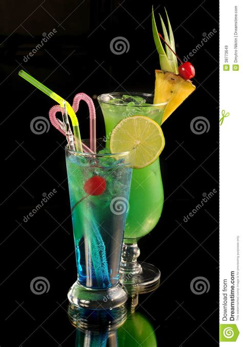 green cocktail black green cocktail with pineapple royalty free stock photo