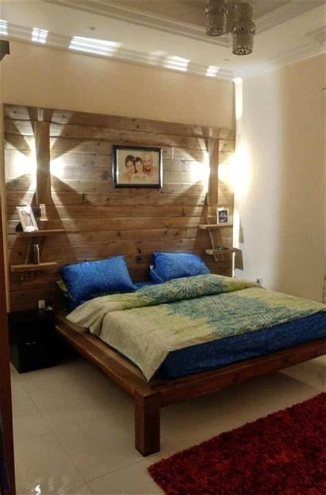 diy pallet bed  wall headboard lamps shelf easy