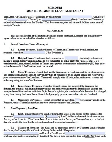 printable rental agreement month to month free missouri monthly rental agreement templates in pdf