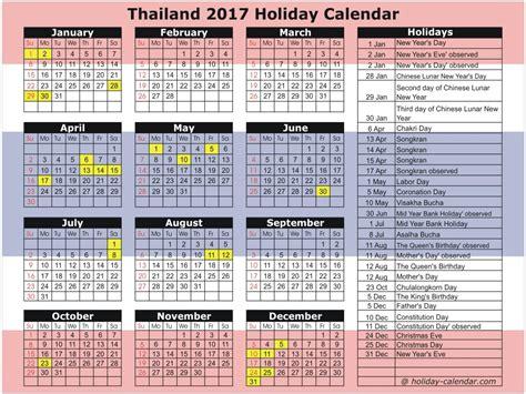 Thailand Calendã 2018 Thailand 2017 2018 Calendar