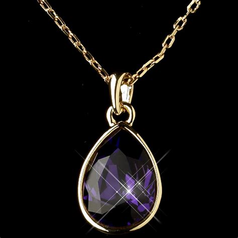 gold amethyst swarovski element teardrop pendant