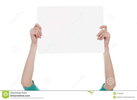 How To Make Paper Holding - holding a blank white paper stock photography