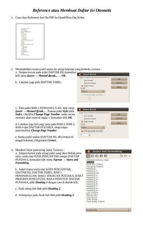 membuat daftar isi pdf tutorial reference membuat daftar isi otomatis pada