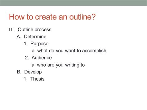 how do you write an outline for a research paper when creating an outline after developing the thesis you
