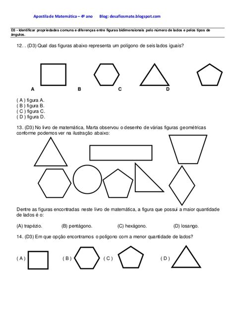 figuras geometricas quarto ano apostila de matem 225 tica apostila 4 176 ano