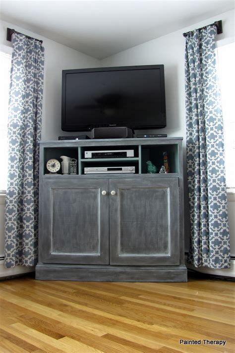building a corner tv cabinet ana white tall corner media console diy projects