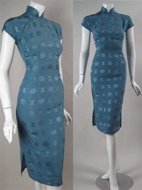 Verkin Retro Jacquard Cheongsam White vintage 1950 s silk cheongsam dress blue jacquard wiggle mandarin asian china vintage