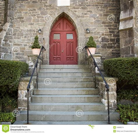 Front Porch Plans Free stone church red door stock images image 34868274