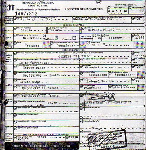 cuanto es el nacimiento 2016 registro civil de nacimiento muestra que falcao s 237 tiene