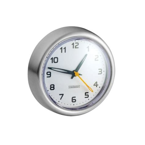 bathroom suction clock interdesign forma suction clock brushed stainless steel