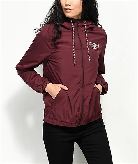 vans kastle mte burgundy windbreaker jacket zumiez