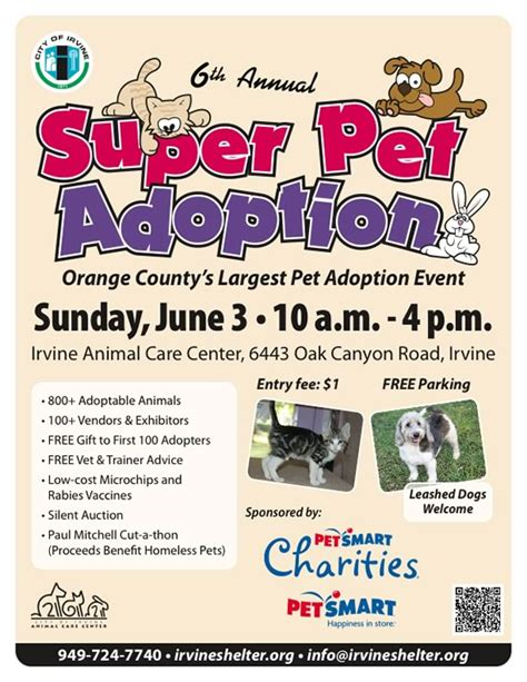 6th Annual Irvine Super Pet Adoption Adoption Flyer Template