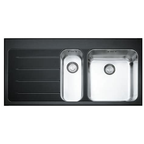 black stainless steel kitchen sink franke epos 1 5 bowl black glass stainless steel kitchen