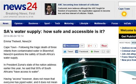 our most popular health news articles for 2014 mnt sa s water supply how safe and accessible is it gt h2o