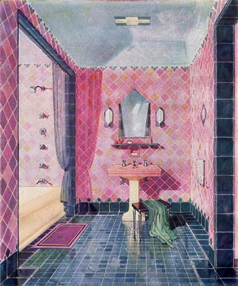 yellow and pink bathroom 1929 kohler plumbing fixtures vintage art deco bathroom midnight blue flamingo