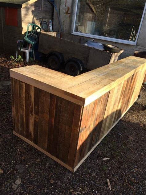 diy bar top diy pallet l shape desk counter and bar table 99 pallets
