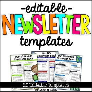 Editable Newsletter Templates By Catherine Reed The Brown Bag Teacher Editable Newsletter Template