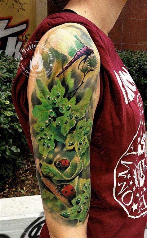 tatouage feuille libellule et coccinelle inkage