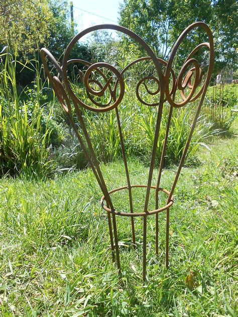 decorative yard plants garden plant support handmade antique style rusty metal