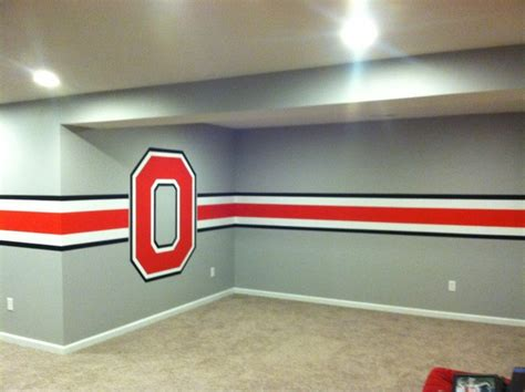 Ohio State Bedroom Paint Ideas by Ohio State Themed Basement