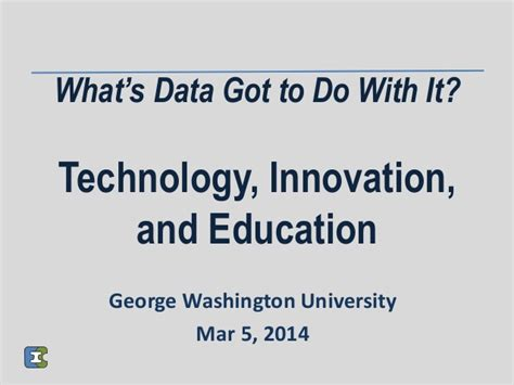 Mba Innovation And Data Analysis by Technology Innovation And Education Presentation To
