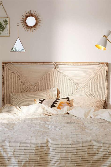 macrame headboard happsy organic hybrid mattress in a box bedroom