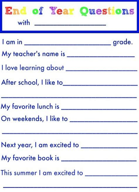 end of school year questions simple play ideas