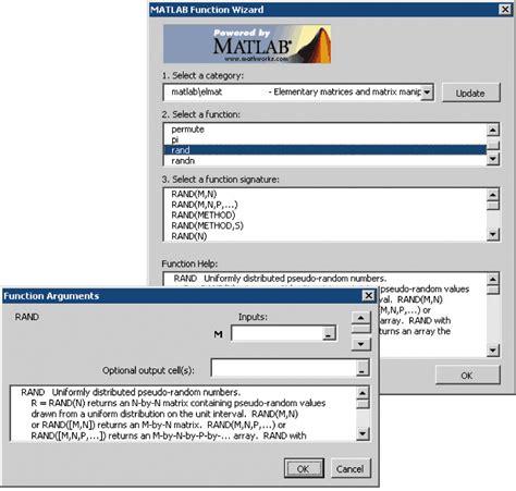 features spreadsheet link matlab