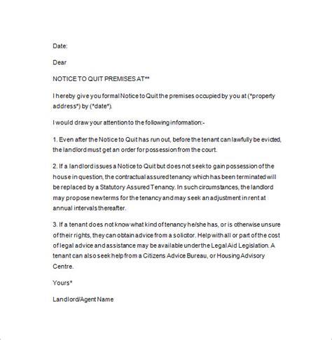 written notice template uk 19 notice to quit templates pdf doc free premium