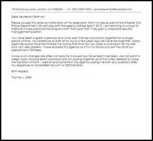 Police Officer Resignation Letter   Resignation Letters