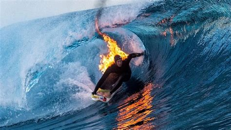 Surf The by Surfer Rides Wave While Lit On Sbnation